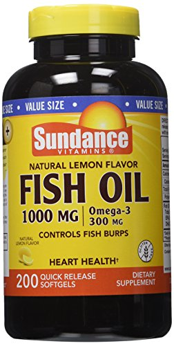 Sundance Omega-3 Lem Fish Oil 1000 mg, Natural Lemon Flavor, 200 Count