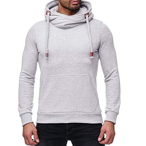 Mens Sport Hoodie Duseedik Loose Solid Long Sleeve Hooded Shirt Top Yoga Blouse Sweatshirt -
