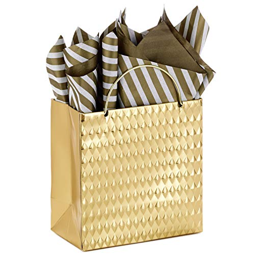 Hallmark Signature Small Holiday Gift Bag with Tissue Paper (Gold Embossed)