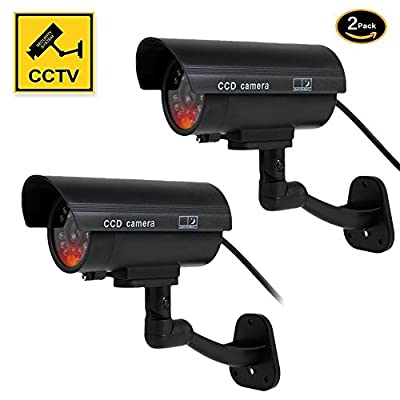 Dummy Camera, Fake Simulated Security Cameras Built in Light LEDs Flashing for Outdoor or Indoor Home and Business Surveillance Bonus CCTV Warning Sticker Decals by Yeskam Technology Co.,LTD