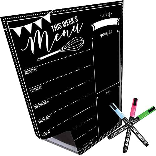 Magnetic Dry Erase Menu Board for Fridge: with Bright Neon Chalk Markers - 16x12