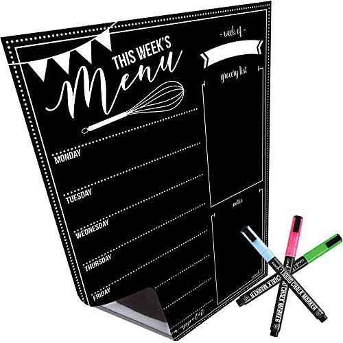 - Magnetic Dry Erase Menu Board for Fridge: with Bright Neon Chalk Markers - 16x12
