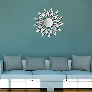 Alrens(TM 27Pcs Sparkly Sun Pattern Acrylic Crystal Decals DIY 3D Modern Design Mirror Surface Wall Sticker Living Room Children Room Mural Decor Home Decoration Art