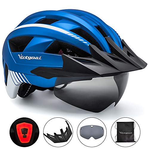 VICTGOAL Bike Helmet with USB Rechargeable Rear Light Detachable Magnetic Goggles Removable Sun Visor Mountain Road Bicycle Helmets for Men Women Adult Cycling Helmets