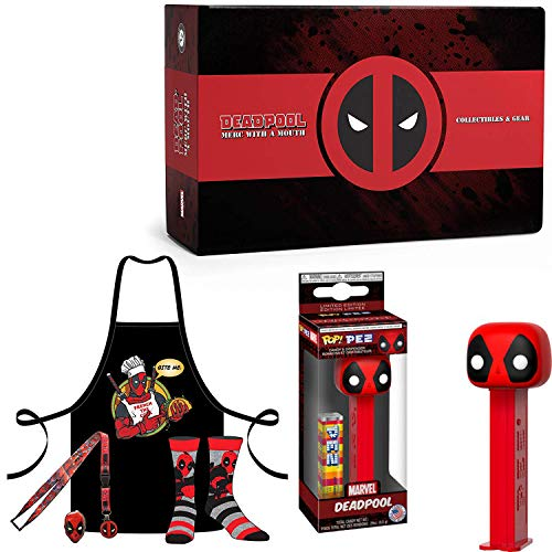 Loot Set Marvel Deadpool Mini Figure Blind Bag Bundled with Character Loot Crate Marvel Super Box Socks / Apron / Pin / Bag Pez / Hero Supplies 2 Items