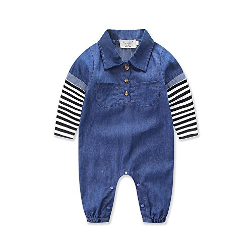 Infant Boys Denim Button Up Romper Long Sleeve Basic Striped Stitching Romper Coveralls (12-24M)
