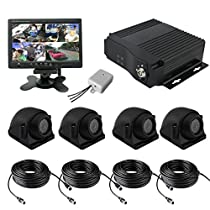 TrackSec 4 Channel AHD 720P H.264 Mobile DVR Recorder with G-sensor Car Black Box Kit - 4 Weatherproof Side View Cameras, 7 inch Car Monitor, Audio Recording, Video Extension Cords and More