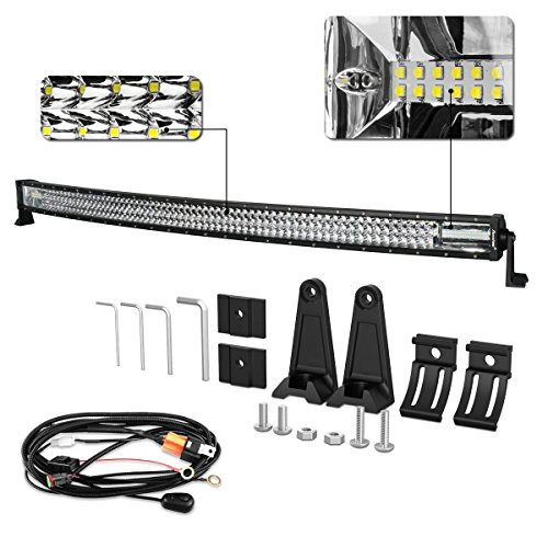 LED Light Bar Curved, Autofeel 52 inch 783W Triple Row Driving Light Spot Flood Combo Beam Off Road Light with Wiring Harness for Pickup Truck Jeep ATV UTV Wrangler SUV Dodge Ram 4x4 Ford