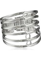 "Steve Madden Silver-Tone Multi-Row Hinge Bangle Bracelet, 2.5"""