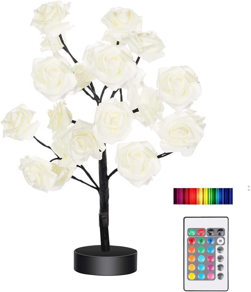 Tabe Lamp Color Changing Flower Tree Rose lamp with Remote Control with Timer Christmas Birthday Gift for Girl Kids Women for Holiday and Party(Black)……