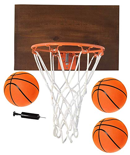FATPLANTS Decorative, Indoor Wooden Basketball Backboard with 9 inch Hoop, 3 Basketballs and Pump, Dark Cedar, 1 Panel