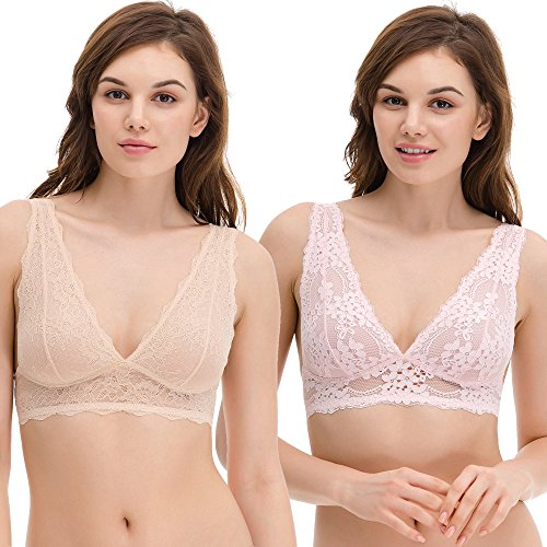 - Curve Muse Plunge Bralette with Floral Lace-2pack-PINK,Nude-XL:38B 38C 38D 38DD 40B 40C 40D 40DD