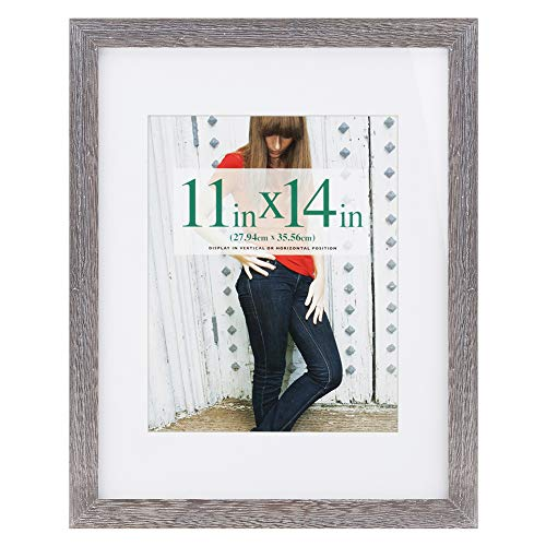 11x14 inch Picture Frame Made of Solid Wood and High Definition Glass Display Pictures 8x10 with Mat or 11x14 Without Mat for Wall Mounting Photo Frame Driftwood Finish