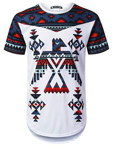 URBANTOPS Mens Hipster Hip Hop Eagle Aztec Graphic Longline T-Shirt White, L (Aztec Mens Shirt)