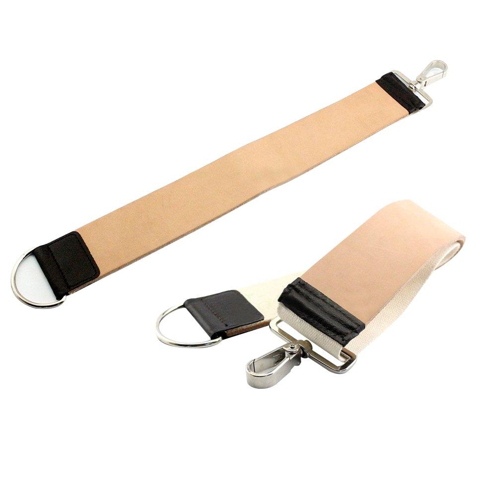 Pro 2'' Pure Leather Barber Strop Straight Razor Sharpening Shave Shaving Strap & Canvas Barber Strop.