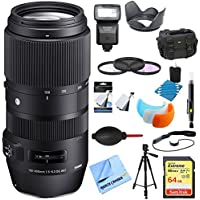 Sigma 100-400mm F5-6.3 Telephoto Lens Sigma (729-956) Ultimate Accessory Bundle includes Lens, 64GB Memory Card, Flash, Flash Cover, Tripod, 67mm Filter Kit, Lens Hood, Bag, Cleaning Kit and More