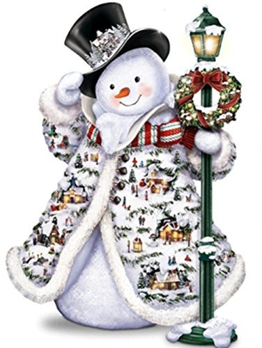 DIY 5D Diamond Painting Kit, Square Diamond Cross Stitch Christmas Cute Snowman Embroidery Art Craft for Canvas Wall Decor