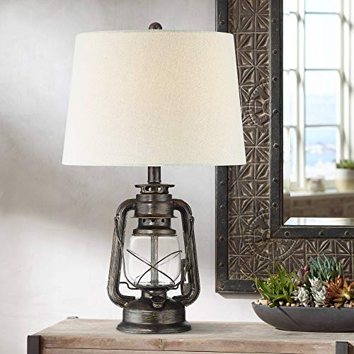 Murphy Rustic Industrial Accent Table Lamp Miner Lantern Weathered Bronze Clear Glass Oatmeal Fabric Drum Shade for Living Room Bedroom Bedside Nightstand Office Family - Franklin Iron Works (Rustic Clearance Lamps)