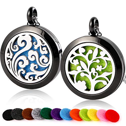 RoyAroma 2PCS Aromatherapy Essential Oil Diffuser Necklace Pendant Locket Jewelry, 23.6 Adjustable Chain Stainless Steel Perfume Black Necklace with 12PCS Felt Pads