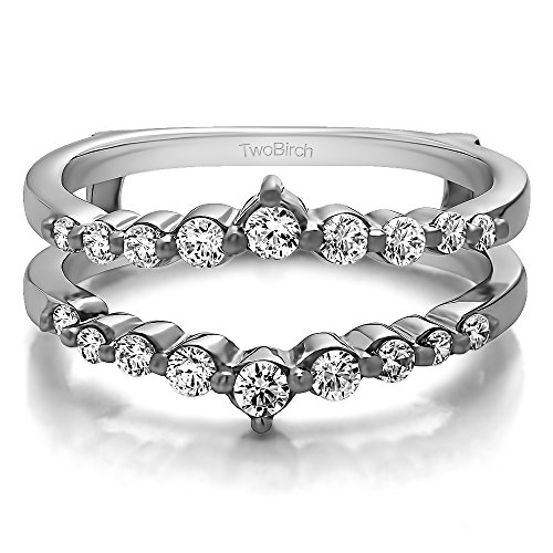 TwoBirch 0.42CT White Sapphire Single Shared Prong Wedding Jacket Ring in Platinum (3/8CT)(Size 3-15, 1/4 Sizes) (Single Marquise Sapphire)
