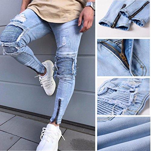 Fit Cerniera Pantaloni Alla Distrutto Jeans Minetom Cuciture Azzurro Denim Moda Uomo Pants Skinny Con Strappati vIEqUxIwH0