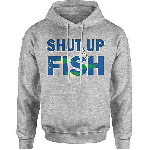 Expression Tees Hoodie Shut up and Fish Adult Large Heather Grey (Sweatshirt Fish Adult)