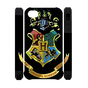 Funny Harry Potter Hogwarts Apple Iphone 4S/4 Case Cover Dual Protective Polymer Cases Deathly hallows hjbrhga1544