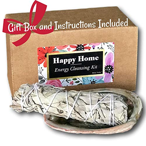 Picki Nicki Happy Home Energy Cleansing Kit - White Sage Stick Bundle for Smudges, Incense with Abalone Shell