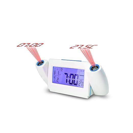 ZHANG Despertador Proyector, 3 Tonos, 5 Brillos, Pantalla LED 5 ...