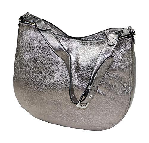 Calvin Klein Pebbled Leather Large Hobo Purse (Metallic Silver)