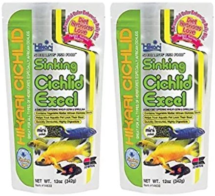 Hikari 12-Ounce Cichlid Excel Sinking Pellets for Pets, Mini (2 Pack)