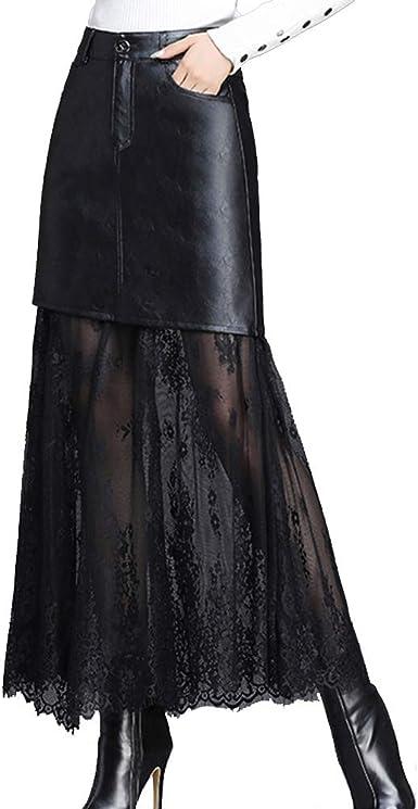 GCC Falda De Cuero Malla Negra para Mujer Nuevo Cintura Alta Cuero ...