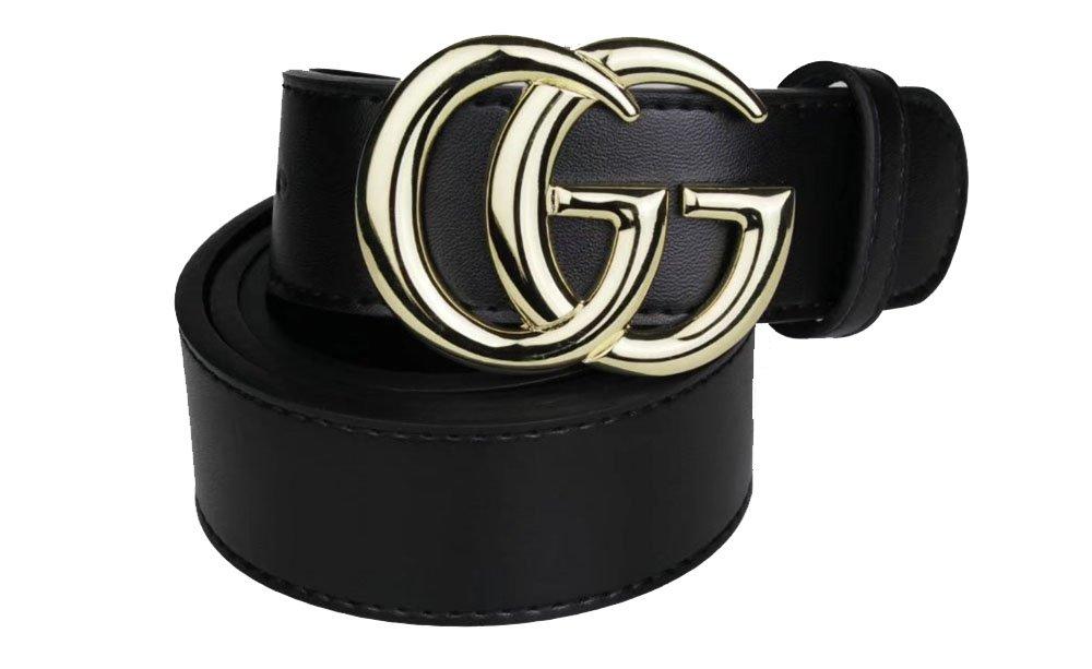 Fashion Black Instagram hot Leather Belt (Gold, 100CM 28-30)
