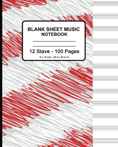 Blank Sheet Music Notebook - Red White Doodle: 8