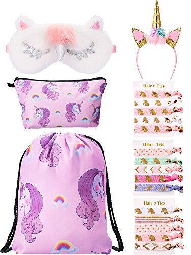 BBTO Unicorn Gifts for Girls Include 1 Piece Unicorn Drawstring Backpack, 1 Piece Makeup Bag, 1 Piece Headband, 1 Piece Eye Mask and 15 Pieces Hair Ties (Pink)