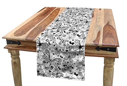 Ambesonne Tattoo Table Runner, Monochrome Pattern with Floral Abstract Butterflies in Filigree Style Spiral Wings, Dining Room Kitchen Rectangular Runner, 16 W X 90 L Inches, Black White ()