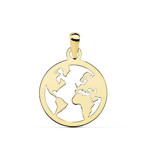 Estados Unidos gran venta colección completa Alda Joyeros Colgante Flat World Oro Amarillo 18 Kilates (750) 15 mm Collar  Mundo Mapamundi