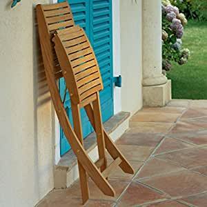 Sal los jardines–Silla plegable Sillage teca sal los jardines, color roble natural