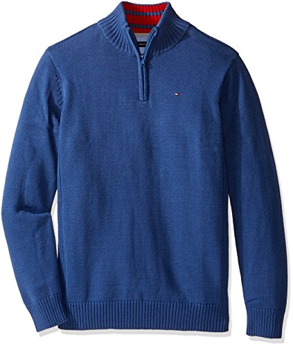 Tommy Hilfiger Big Boys' Edward Half Zip with Rib Stitch Sweater, Estonia Blue, Medium (Half Zip Sweater Blue)