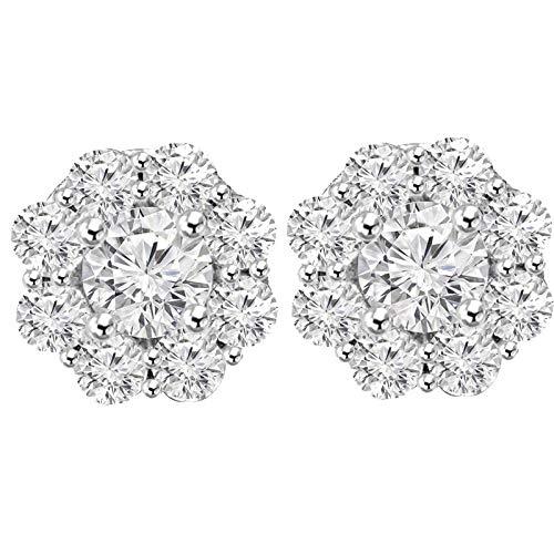 - 1 ct Round Cut White Diamond Wedding Cluster Flower Stud Earrings .925 Sterling Silver For Women's & Girls
