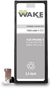WAKE Battery OEM for iPhone 4 Replacement Battery Li-ion 1420 mAh (Compatible for iPhone 4 no 4S) WAKE Brand