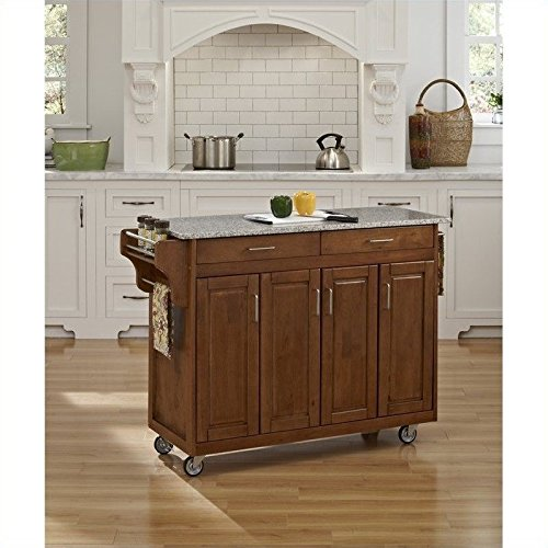 Home Styles 9200-1063 Create-a-Cart 9200 Series Cabinet Kitchen Cart with Gray Granite Top, Cottage Oak Finish