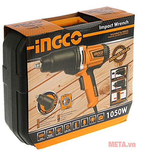 INGCO POWERTOOLS & HANDTOOLS 1050W Impact Wrench with 6 Pieces Sockets (17, 18, 19, 21, 23, 24 mm) and 125 mm Adaptor 2