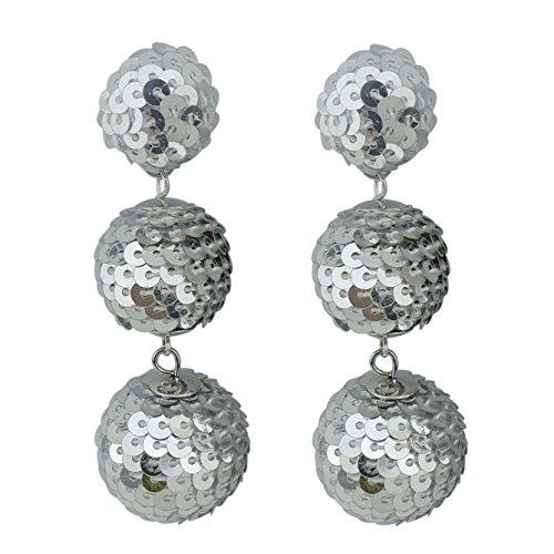 COIRIS Black Sequin Ball Dangle Stud Earrings For Women Beaded Statement Drop Earrings (ER1084-silver) (Ball Drop Dangle)