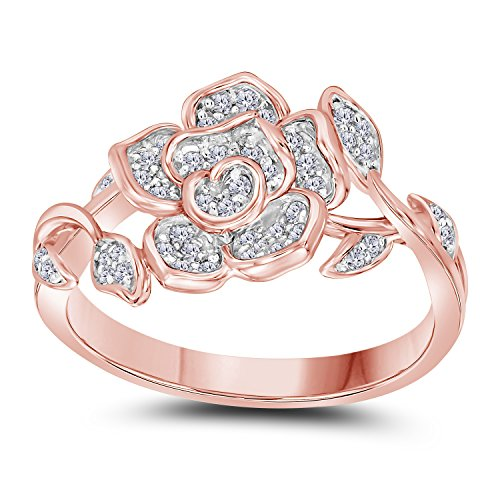 (14K Rose Gold Plated Alloy Round Cut White Cubic Zirconia Rose Flower Design & Leaf Design Fashion Ring Women's Jewelry)