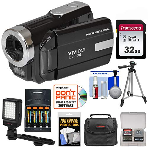Vivitar DVR-508 HD Digital Video Camera Camcorder (Black) with 32GB Card + Batteries & Charger + Case + LED Video Light + Tripod + Kit