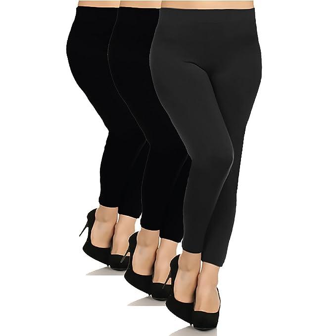388e8ab35b2 BASICO Womens Plus Size 3-Pack, 1- Pack Seamless Fleece Lined Leggings (