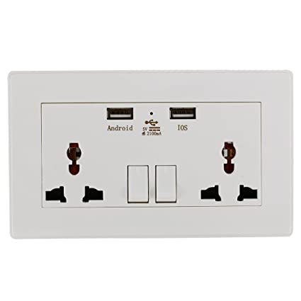 xcsource universal electric wall socket outlet with dual plug usb charger  switches led indicator light 2100ma bi119: amazon ca: home & kitchen