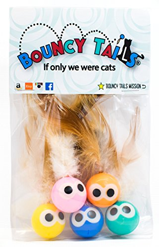 Bouncy Tails 5 Pack Interactive Bouncy Ball with Natural Feathers for Indoor Cats and Kittens who Love to Play and Have Fun.