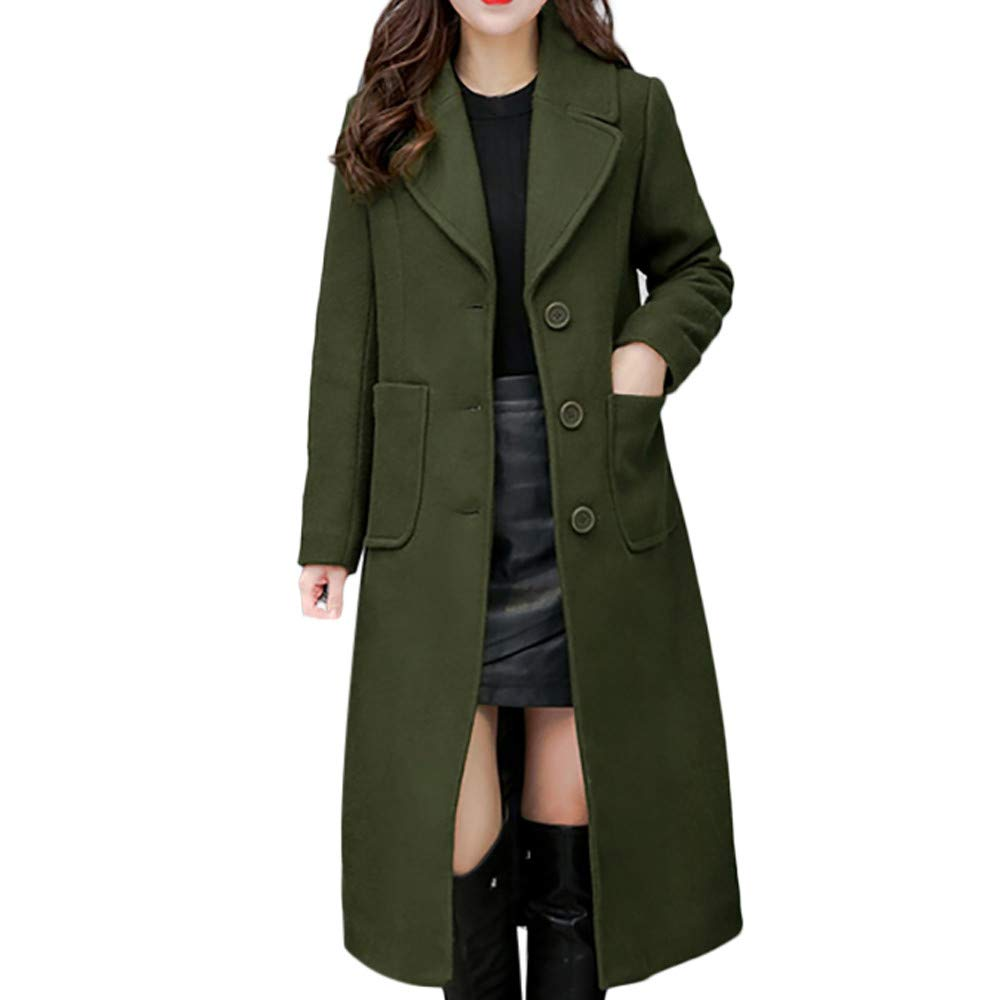 Funnygals - Women's Trench Coat Winter Lapel Neck Slim Fit Long Coat Jacket Parka Outwear Wool Overcoat for Ladies Green by Funnygals - Clothing